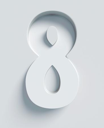 Nummer 8 schuine 3D-lettertype gegraveerd en geëxtrudeerd van het oppervlak Stockfoto - 46059689