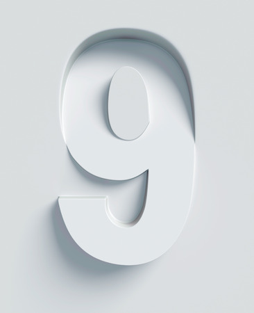 slanted: Number 9 slanted 3d font engraved and extruded from the surface Stock Photo