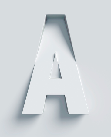 slanted: Letter A slanted 3d font engraved and extruded from the surface Stock Photo