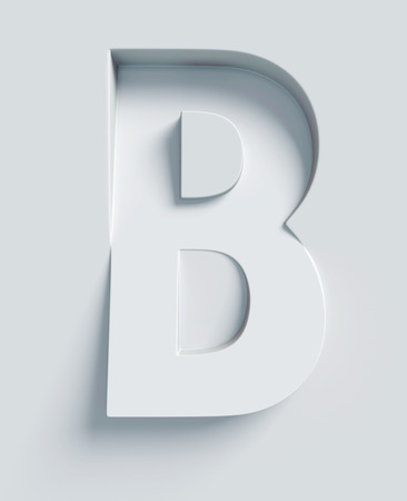 B: Letter B slanted 3d font engraved and extruded from the surface Stock Photo
