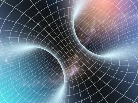 Agujero de gusano cósmico, los viajes espaciales concepto 3d Foto de archivo - 46059701