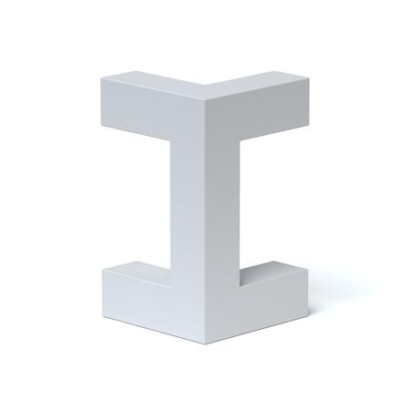 Isometric font letter I 3d rendering