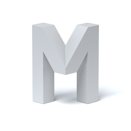 Isometric font letter M 3d rendering Stock Photo