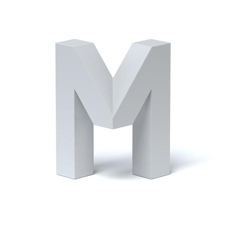 Isometric font letter M 3d rendering Stok Fotoğraf