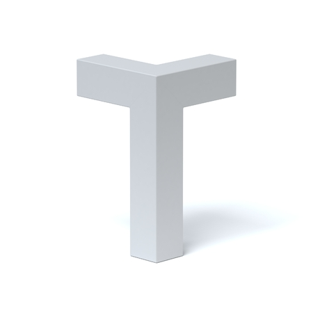 t square: Isometric font letter T 3d rendering Stock Photo