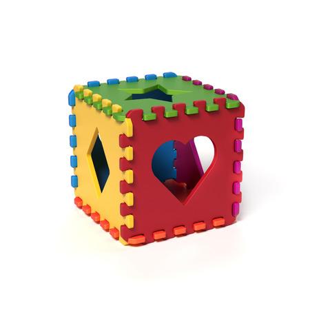 cubical: foam pads forming cubical puzzle 3d rendering