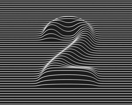 number 2: linear 3d font number 2