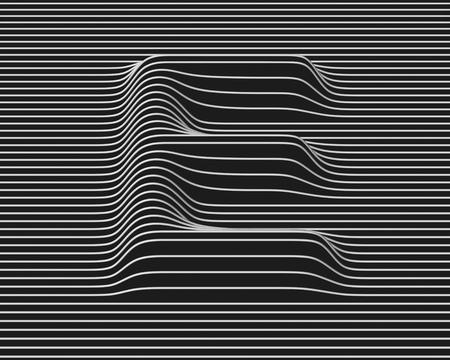 linear 3d font letter E