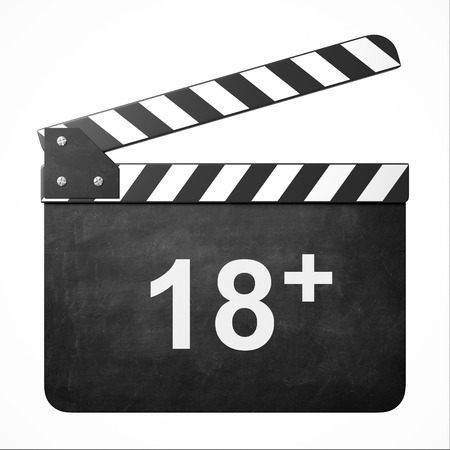 prohibit the production: movie clapper with rate 18 + Stock Photo