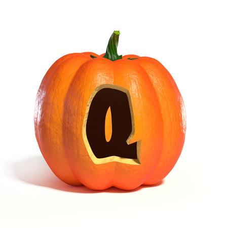 Halloween pumpkin font letter Q 3d rendering