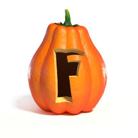 Halloween pumpkin font letter F 3d rendering