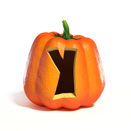 spook: Halloween pumpkin font letter Y 3d rendering