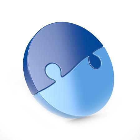 piece: two piece circular puzzle Stock Photo