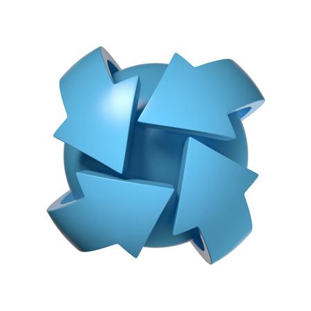 orbiting: arrows orbiting around the sphere 3d rendering