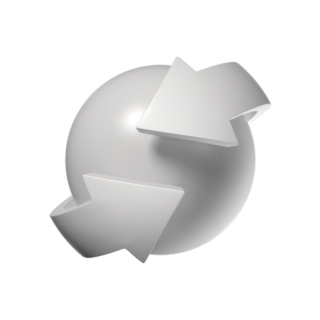abstract recycle arrows: arrows orbiting around the sphere 3d rendering