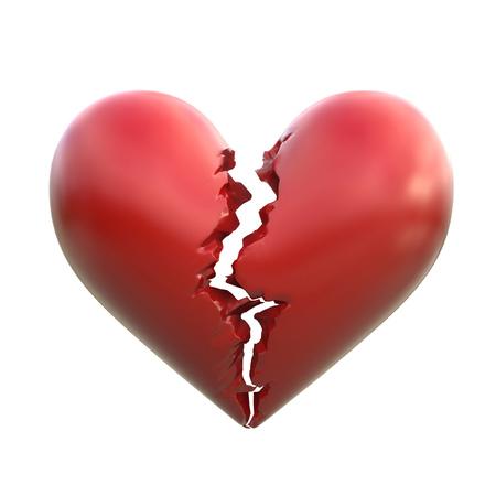 Ilustración 3d corazón roto