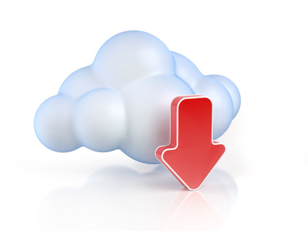 Cloud computing download 3d concept Stock Photo