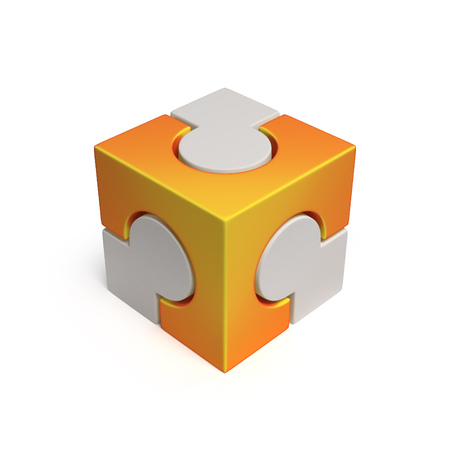 icon 3d: cubical jigsaw icon 3d rendering