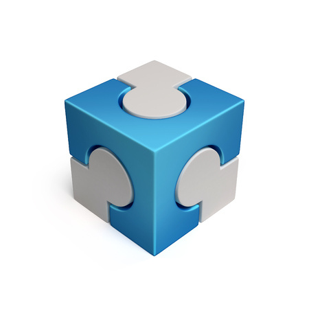 cubical: cubical jigsaw icon 3d rendering