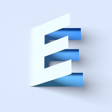 e new: cut out paper font letter E