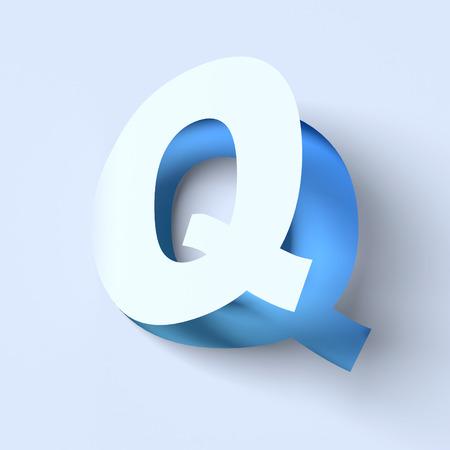 cut out paper: cut out paper font letter Q Stock Photo