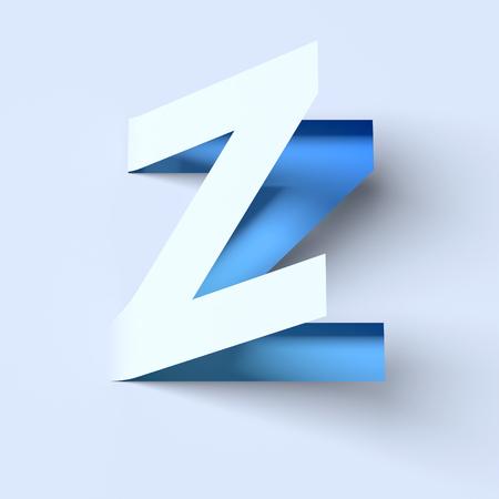 cut out paper: cut out paper font letter Z Stock Photo