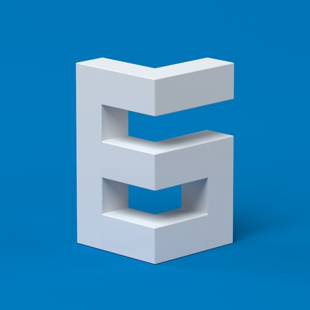 orthographic symbol: Isometric font number 6 3d