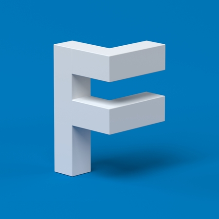 orthographic symbol: Isometric font letter F 3d Stock Photo