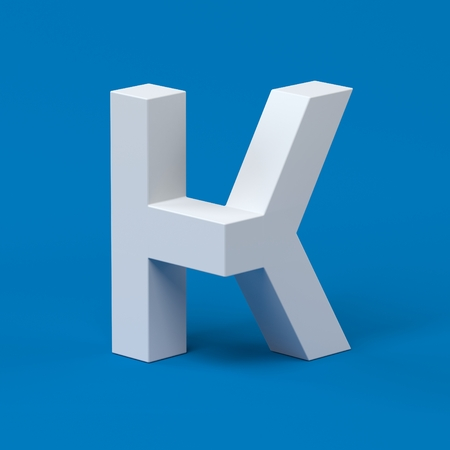 orthographic symbol: Isometric font letter K 3d Stock Photo