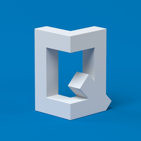 q: Isometric font letter Q 3d