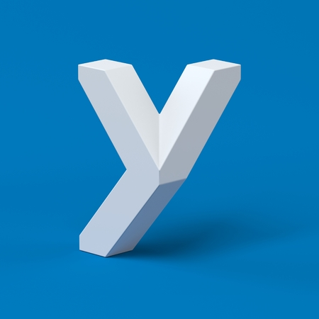 three dimensional shape: Isometric font letter Y 3d