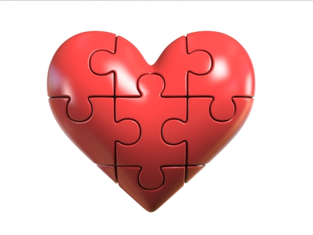 Red Puzzle heart 3d rendering Stock Photo