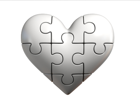 heart puzzle: Puzzle heart 3d rendering Stock Photo