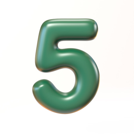 bloated: Bubbly 3d font number 5