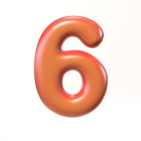 bloated: Bubbly 3d font number 6