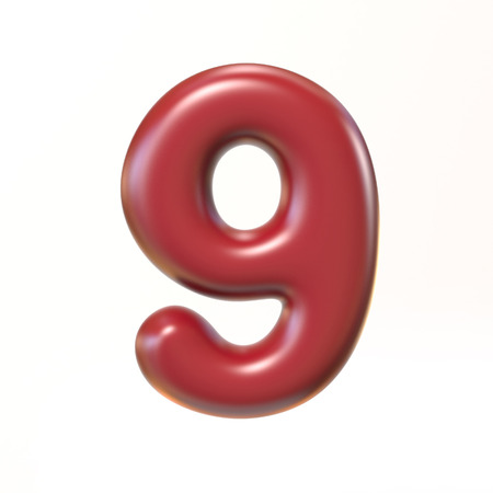 bloated: Bubbly 3d font number 9
