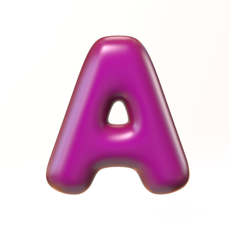 bloated: Bubbly 3d font letter A Stock Photo