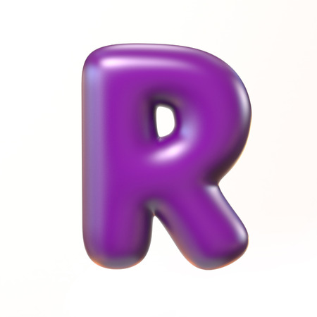 bloated: Bubbly 3d font letter R Stock Photo