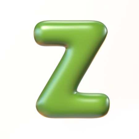 bloated: Bubbly 3d font letter Z Stock Photo