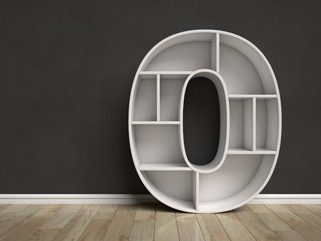 Number 0 shaped shelves 3d rendering