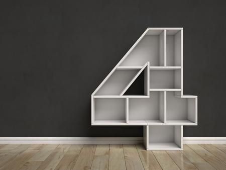 book reviews: Number 4 shaped shelves 3d rendering