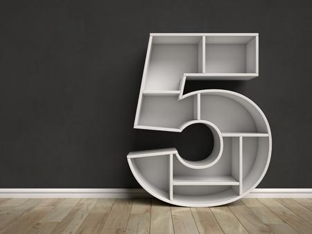 Nummer 5-vormige planken 3D-weergave Stockfoto