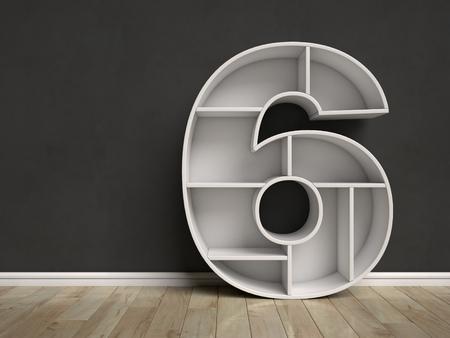 Number 6 shaped shelves 3d rendering