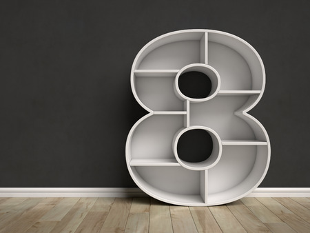 Number 8 shaped shelves 3d rendering Stock Photo
