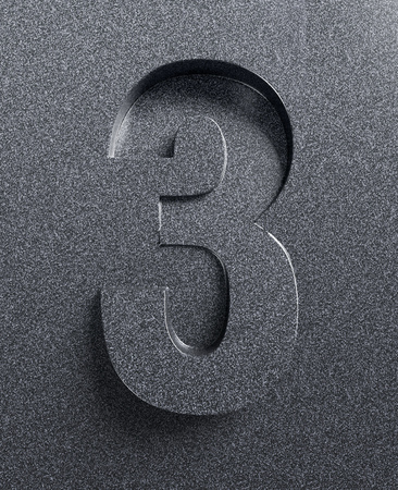 slanted: Number 3 slanted 3d font engraved and extruded Stock Photo