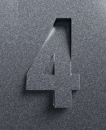 bevel: Number 4 slanted 3d font engraved and extruded Stock Photo