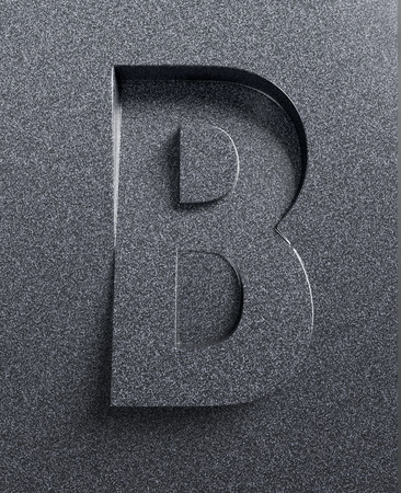 Letter B slanted 3d font engraved and extruded