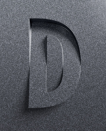 skew: Letter D slanted 3d font engraved and extruded