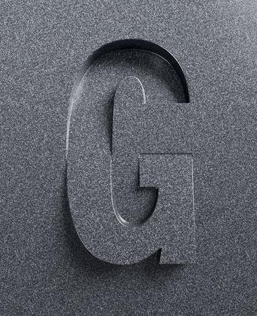 tilt: Letter G slanted 3d font engraved and extruded