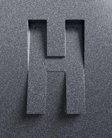 文字 H 斜め 3 d フォントが刻まれ、押出材 写真素材